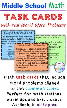 Middle School Math Task Cards with real-world word problems. Have your students practice problem solving with real-world math problems aligned to the common core. Available for grade math, grade math, and grade math. Perfect for math stations, Math Problem Solving, Solving Equations, Math Assessment, Math Task Cards, Math Words, Math Intervention, Math Word Problems, Geometry Problems, 7th Grade Math
