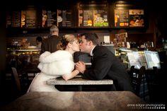Walper Terrace Hotel wedding bride & groom stop for coffee.