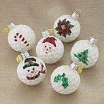 Set of 6 Glass Golf Ball Ornaments