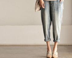 Retro Blue Ninth Length Pants Jeans - Cowboy Have Pocket Loose Leisure Cotton Linen Pants -Women's Pants -Women Clothing N3106A