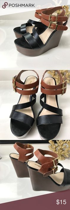 d015abc4bc Black and Brown Wedges Black and Brown strappy wedges from Charlotte Russe