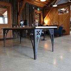 A finished table for a very special customer- a set of our customized table legs paired with her grandfather's antique table top. Industrial Table Legs, Industrial Design Furniture, Home Decor Furniture, Furniture Design, Wood And Metal Table, Steel Table Legs, Slab Table, Walnut Table, Sheet Metal Fabrication