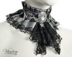 Silver gray fabric collar with jabot and butterfly - Ice queen choker necklace, Victorian bride fantasy jewelry, Wedding neck corset Victorian Collar, Victorian Bride, Victorian Fashion, Gothic Fashion, Gothic Mode, Gothic Lolita, Fantasy Jewelry, Gothic Jewelry, Mode Outfits