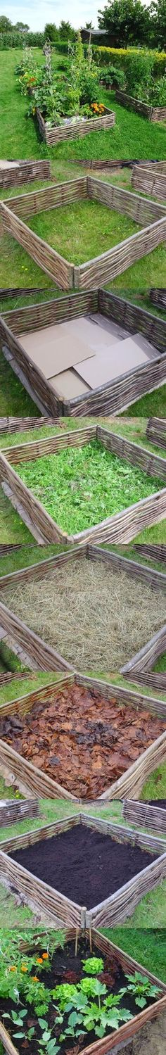 Building lasagna raised bed garden. Love this idea - http://archers-at-the-larches.blogspot.co.uk/