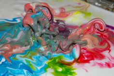 Crazy colors, cornstarch and food coloring