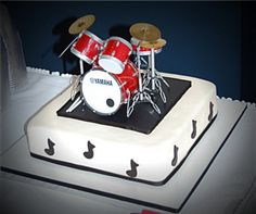 Grooms Cake With Mini Drum Set  on Cake Central