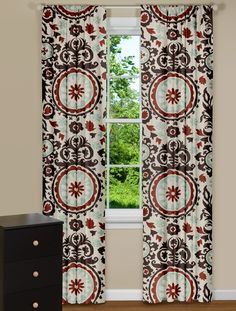 Modern Curtains With Medallion Print in Blue and Rust