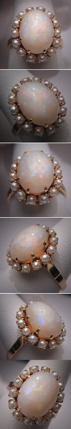 Antique Opal Seed Pearl Ring Vintage Victorian 14K Gold.