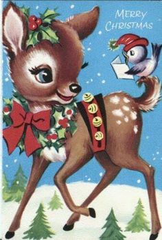 Vintage reindeer with singing blue-bird Christmas card...
