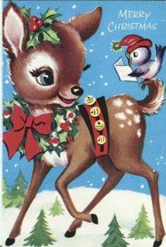 Vintage reindeer with singing blue-bird Christmas card...