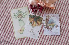 Create Charming Place Cards for Your Holiday Dinner Old Christmas, Little Christmas, Christmas Wishes, Christmas Cards, Holiday Dinner, Vintage Cards, Holiday Crafts, Place Cards, Gift Wrapping