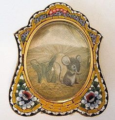 Vintage Miniature Italian Mosaic Easel Back Picture Frame