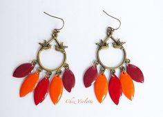 Autumn dreamcatcher fall earrings bird earring red by chezviolette