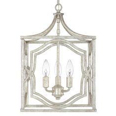 Small Modern Fretwork Frame Lantern  |  shadesoflight.com  maybe something like this in black w/ round lights