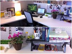 Love this idea of adding a fabric or paper background to add liveliness to a cubicle. What I want to know is: how do you hang it?    Ask Annie: How Do I Live Simply In A Cubicle?