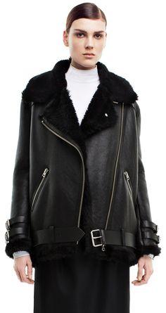 Velocite black shearling jacket #AcneStudios #PreFall2014