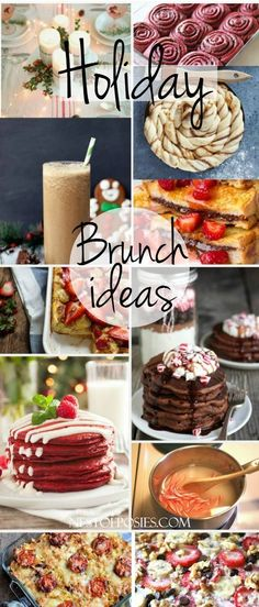 22 Holiday Breakfast and Brunch Ideas. Perfect for Thanksgiving, Christmas or New Years Holiday Brunch Ideas for Thanksgiving, Christmas and New Years. You will love all the recipes from this collection of Holiday Brunch Ideas. Holiday Treats, Holiday Recipes, Christmas Recipes, Christmas Diner Ideas, Holiday Foods, Brunch Recipes, Breakfast Recipes, Breakfast Bake, Sausage Breakfast