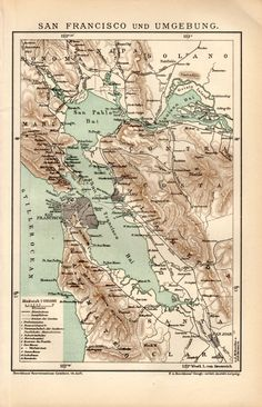 1898 San Francisco Map Antique Print Vintage Lithograph California Map United States