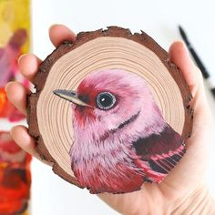 Pretty Drawings, Bird Drawings, Love Painting, Painting On Wood, Wood Staining Techniques, Wood Artwork, Wood Circles, Bird Tree, Handmade Journals