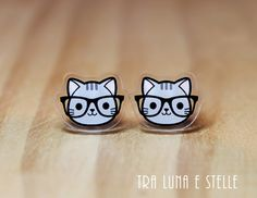 Hey, I found this really awesome Etsy listing at https://www.etsy.com/listing/286978473/cat-with-nerd-glasses-earrings-cute