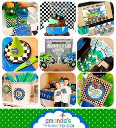 Monster Truck Party Printables Set - Birthday - Grave Digger -by Amanda's Parties TO GO Digger Birthday Parties, Digger Party, Boy Birthday, Birthday Ideas, Third Birthday, Birthday Cake, Monster Truck Birthday, Monster Trucks, Monster Jam