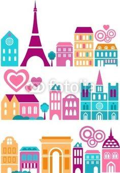 Cute  silhouettes of Paris landmarks - European cities series