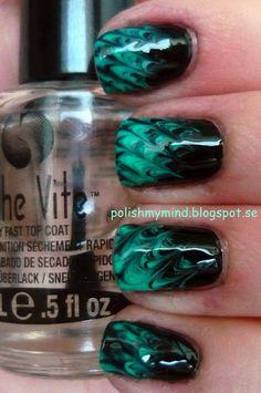 black & green needle drag tips nail art