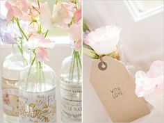 empty beverage bottles make charming vases, and, in turn, making charming table centerpieces!