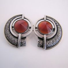 Sunny Sterling Silver Orange Red Jasper Marcasite 37mm Dangle Earrings Art Deco Design Attractive And Durable Jewelry & Watches