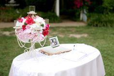 Guest Book Table. The picture is of the groom's late grandparents.