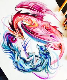 Loup et Dragon Colorful Drawings, Cool Drawings, Pencil Drawings, Wolf Tattoos, Body Art Tattoos, Dragon Wolf, Dragon Artwork, Dragon Drawings, Poses References