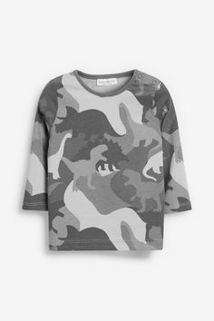 Kids Unisex Camo Green T Shirts Plain American Baseball Long Raglan Sleeves Tops