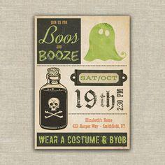 Halloween beer invitation booze adult party digital file, printable DIY by AmysStationeryShoppe on Etsy