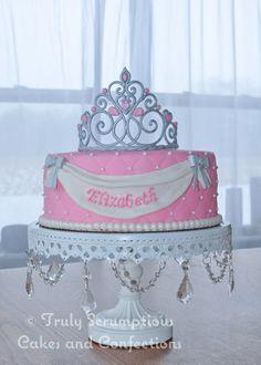 "- Princess/Tiara cake. 9"" Round Choc/Vanilla marble cake. Hand made gumpaste tiara and fondant swag."