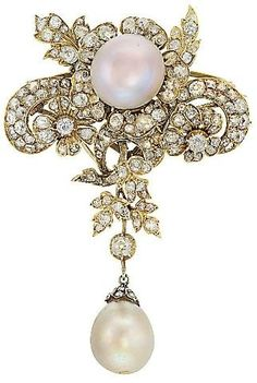 Pearl and Diamond Brooch  1890s  Christie's by catrulz