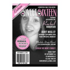 Magazine Cover Sweet 16 Party Invitation  - Turn your beautiful daughter into a fashion magazine cover girl with these super fun Sweet 16 party invitations! For best results: use a black or dark background, have her wear a black or dark top, and use a black and white photo. Upload her picture in place of our sample picture and edit all the text for your upcoming celebration. If you need any assistance customizing this product, please contact me and I'll help you make it perfect.