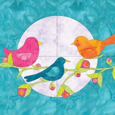 Inspiration photo as the Birds Applique pattern uses the GO die cuts.    But...    I have some Sizzix dies...