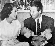 Jimmy and Gloria Stewart with their twin-daughters