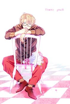 Pixiv Id Axis Powers: Hetalia, United States, Chair, Text: Thank You, Checkered Floor Checkered Floors, Hetalia America, Usuk, I Miss U, Axis Powers, God Bless America, Image Boards, Mobile Wallpaper, Cool Pictures
