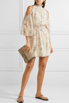 Rachel Zoe | Meade cold-shoulder floral-print silk-chiffon mini dress |