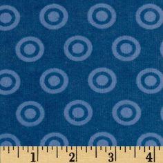 Nursery Fabric: Fabric.com - Alpine Flannel Basics Circle Dots Tonal Medium Blue $5.98
