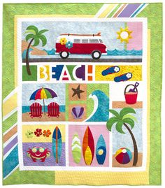 BEACH BREAK Laser Cut Kit Pattern by Patricia Frei for Quilted Works This colorful, happy quilt is a Quilted Works original pattern. You will find it fun to make and all applique pieces are LASER CUT