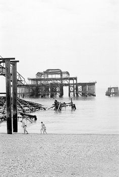 The derelict West Pier, Brighton: The Pier had suffered damage from storms and several fires later in 2003 spelled the end of any renovation plans. The skeletal hulk is all that is left.