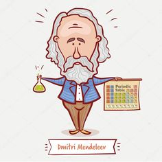 The scientist chemist dmitri mendeleev with a chemical flask and the periodic table in a blue United Nations General Assembly, Math Multiplication, Book Images, Educational Technology, Preschool Activities, Free Food, Good Books, Periodic Table, Aurora Sleeping Beauty
