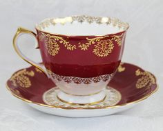 Vintage Royal Albert Red White and Gold Accented by scdvintage, $28.00