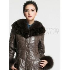 2013 Latest Style Women's Leather Coat On Sale, Sheepskin Fur Overcoat With Fox Fur Collar Now At Amazing Price