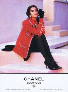 Yasmeen Ghauri for Chanel, photographed by Karl Lagerfeld, Fall/Winter 1990 tag: Karl Lagerfeld