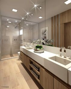 The bathroom with modern design is the perfect option for a contemporary home. Modern Laundry Rooms, Modern Master Bathroom, Modern Bathroom Design, Bathroom Interior Design, Bad Inspiration, Bathroom Inspiration, Bathroom Ideas, House Design, Home