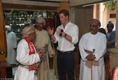 Tour: After the sword dance, Harry toured the compound and met traders in the local souk...