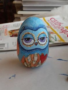 Hand painted wooden owl egg  Pinned by www.myowlbarn.com